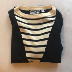 L.A.M.B 100% Wool Black & Cream top
